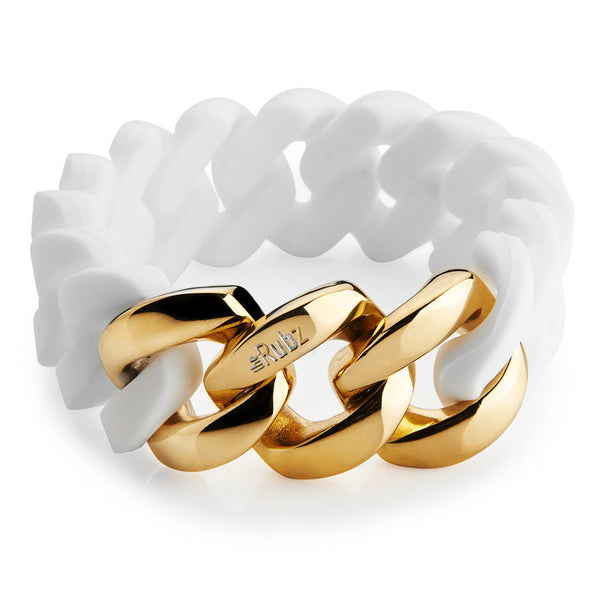 Classic20mm - White & Soft gold, The Rubz