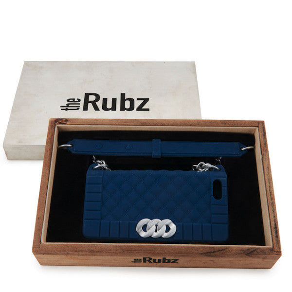 Iphone Cover - Navy Silicone / Shiny Silver, The Rubz