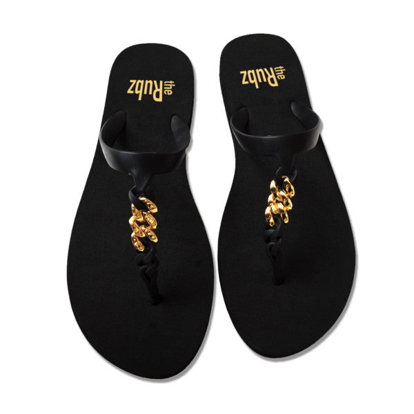 Flip Flops - Black & Gold Metal, The Rubz