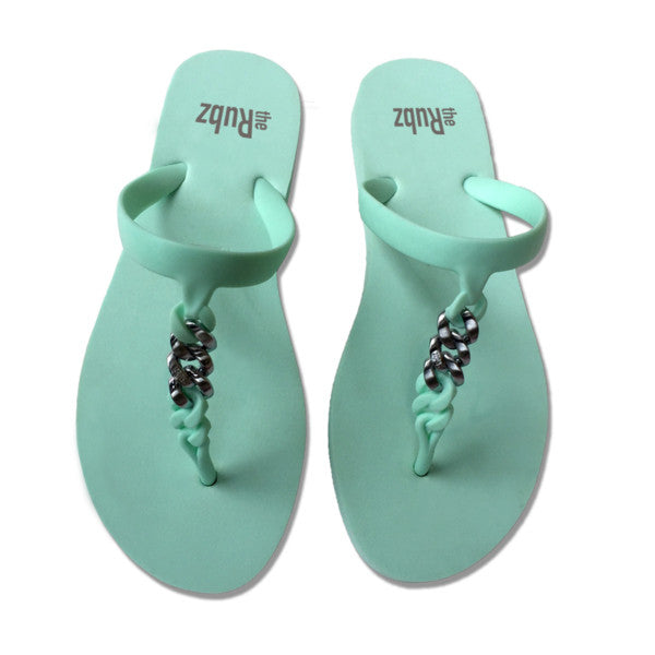 Flip Flops - Mint Green & Silver Metal, The Rubz