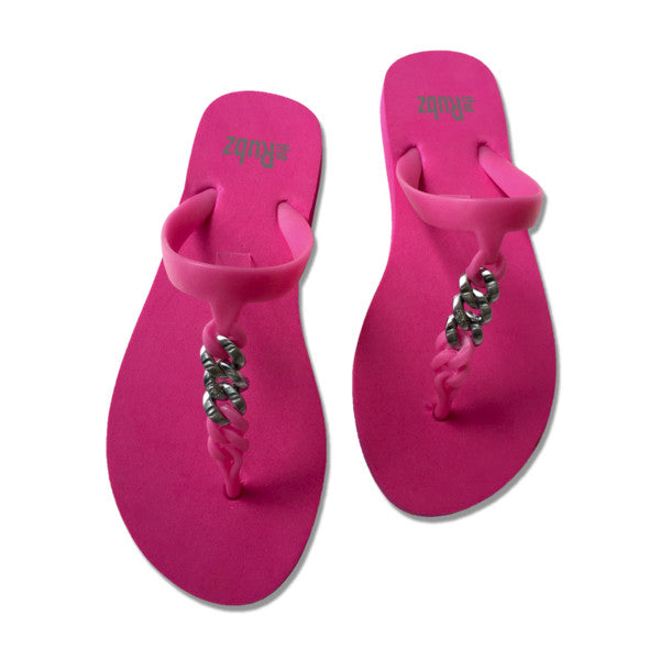 Flip Flops - Pink & Brushed Silver Metal, The Rubz