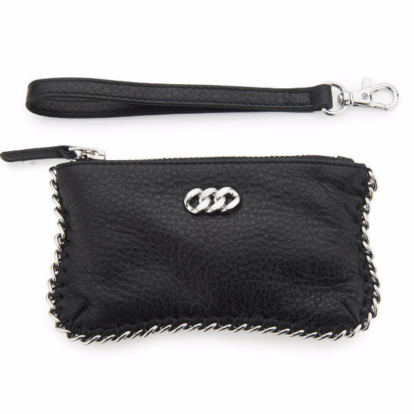 Leather Purse - Black & Silver, The Rubz