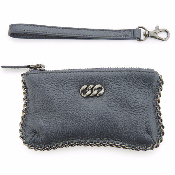 Grey & Antique Silver Leather Purses, The Rubz