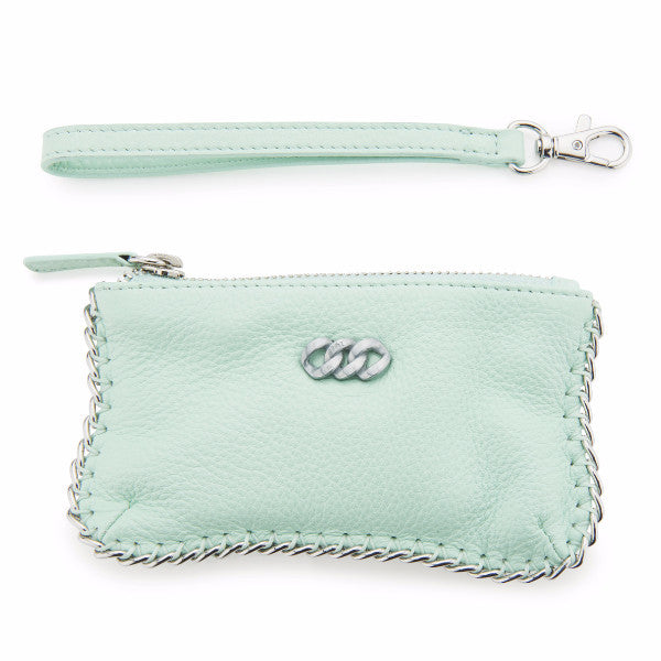 Leather Purse - Mint & Brushed Silver, The Rubz