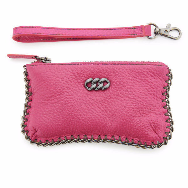 Neon Pink & Gun Metal Leather Purse, The Rubz