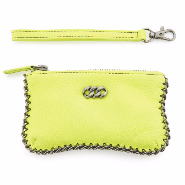 Leather Purse - Neon Yellow & Antique Silver, The Rubz