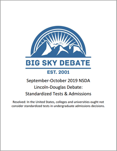 September-October 2019 NSDA Lincoln-Douglas: Standardized Tests and College Admissions