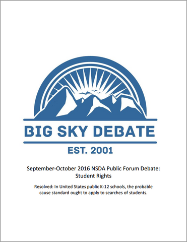 September-October 2016 NSDA Public Forum: Student Rights