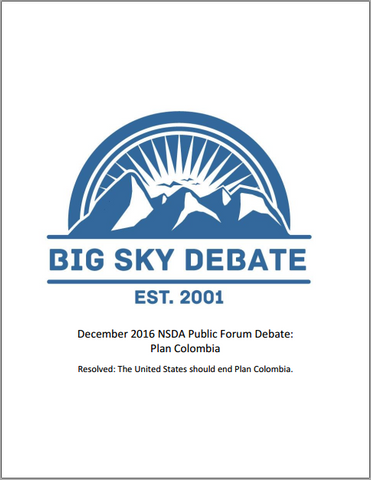 December 2016 NSDA Public Forum: Plan Colombia
