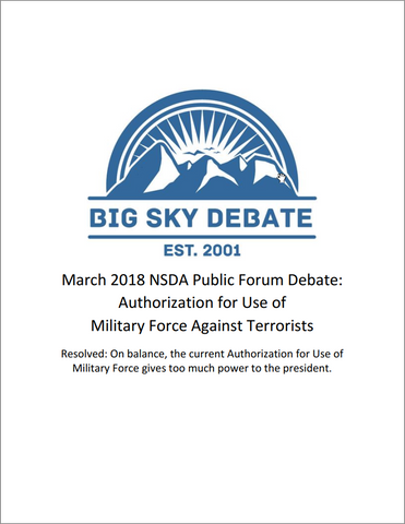 March 2018 NSDA Public Forum: Authorization for the Use of Military Force