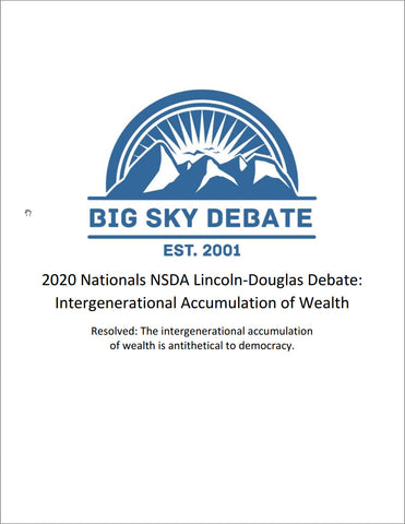 2020 NSDA Nationals Lincoln-Douglas: Intergenerational Accumulation of Wealth