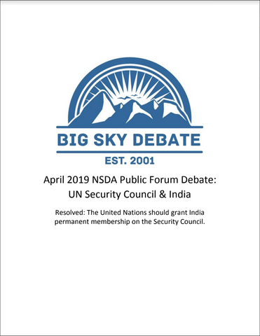 April 2019 NSDA Public Forum: UNSC and India