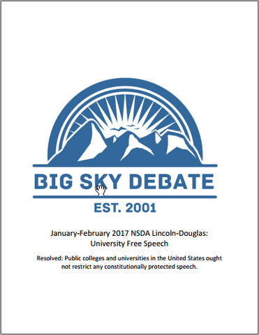 January-February 2017 NSDA Lincoln-Douglas: University Free Speech