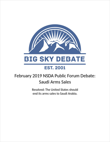 February 2019 NSDA Public Forum: Saudi Arms Sales