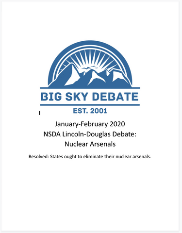 January-February 2020 NSDA Lincoln-Douglas: Nuclear Weapons