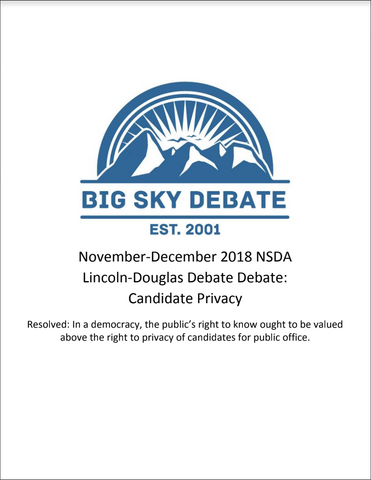 November-December 2018 NSDA Lincoln-Douglas: Candidate Privacy