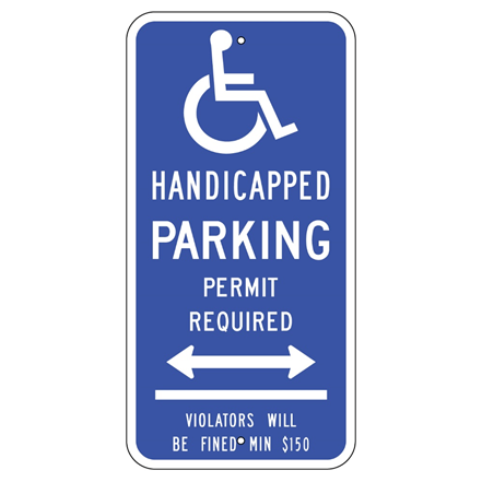 Connecticut-Handicap Parking Permit Arrow Sign - U.S. Signs and Safety
