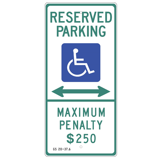 North Carolina-Handicap Reserved Parking Double Arrow Sign - U.S. Signs and Safety