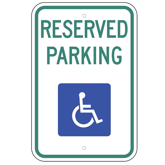 *Handicap Reserved Parking (No Arrows) Sign - Federal Layout - U.S. Signs and Safety