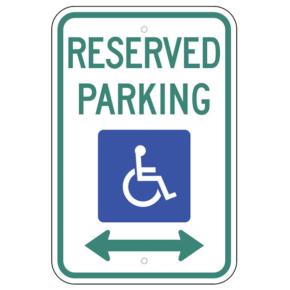 *HANDICAP RESERVED PARKING (DOUBLE ARROWS) SIGN - U.S. Signs and Safety