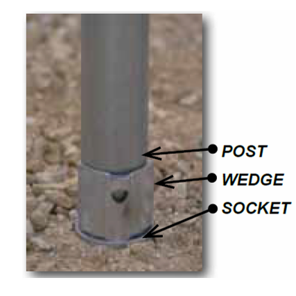 Socket Wedge Anchor Set For 2 3/8 Round Post - U.S. Signs and Safety