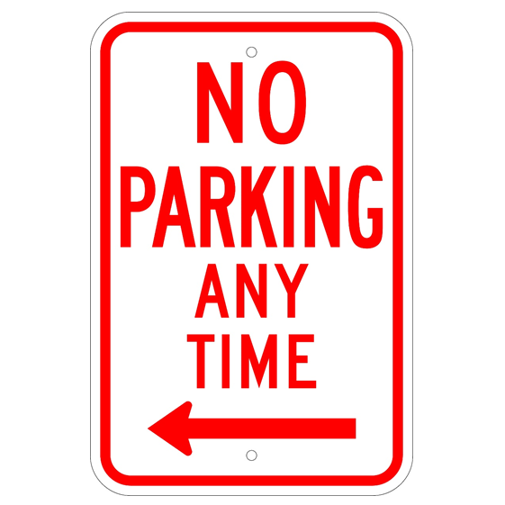 No Parking Any Time Left Arrow Sign - U.S. Signs and Safety
