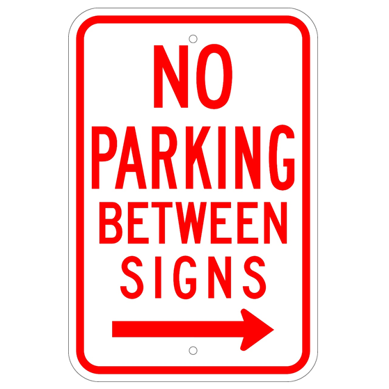 No Parking Between Signs Right Arrow Sign - U.S. Signs and Safety