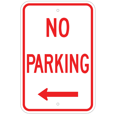 No Parking Left Arrow Sign - U.S. Signs and Safety