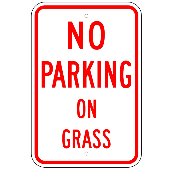 No Parking on Grass Sign - U.S. Signs and Safety