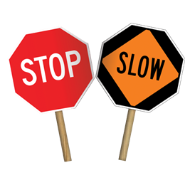 Stop/Slow or Stop/Stop Hand Paddle - U.S. Signs and Safety - 1