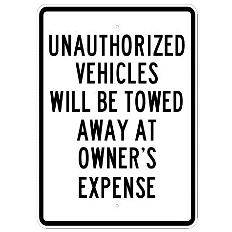 Unauthorized Vehicles Will Be Towed Sign - U.S. Signs and Safety