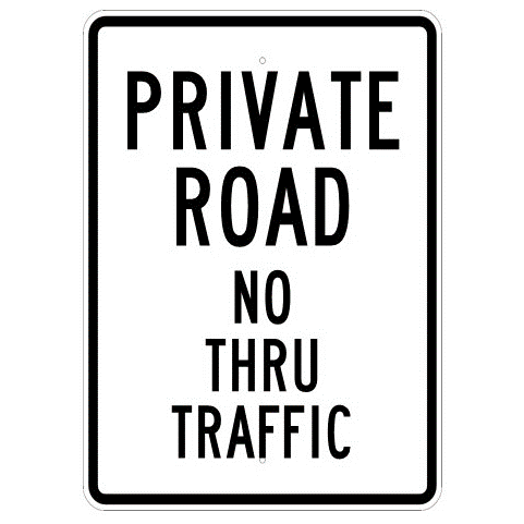 Private Road No Thru Traffic Sign - U.S. Signs and Safety