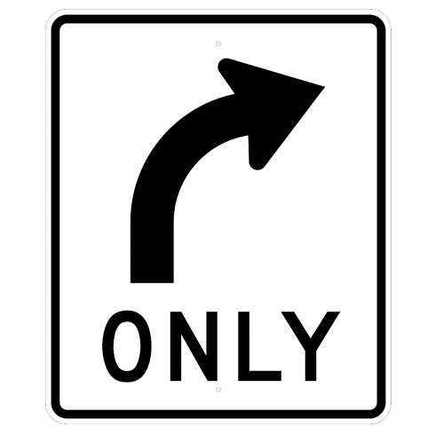 Mandatory Right Turn Sign  MUTCD R35R,  Right Curve Arrow ONLY - U.S. Signs and Safety