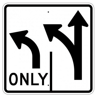 Double Turn Left Sign, MUTCD R3-8 - U.S. Signs and Safety