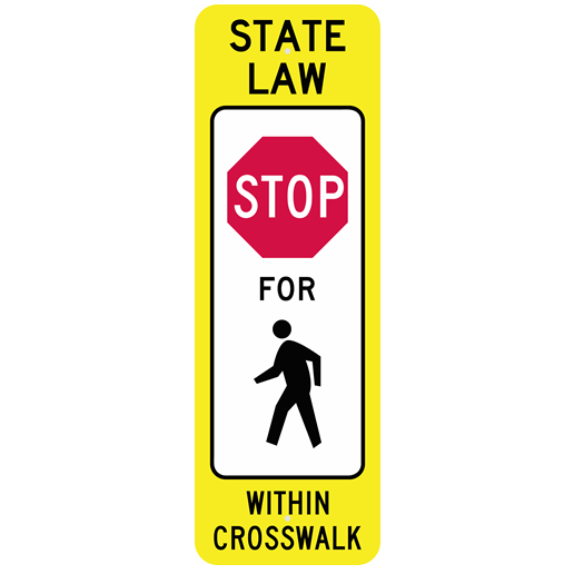 YIELD TO (OR STOP FOR) PEDESTRIAN WITHIN CROSSWALK REBOUNDABLE SIGN - U.S. Signs and Safety - 1