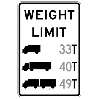 Weight Limit ** T (Tons) Sign - U.S. Signs and Safety