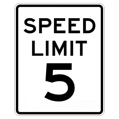 Speed Limit 05 mph sign, MUTCD R2-105, Reflective sheeting on heavy duty aluminum - U.S. Signs and Safety