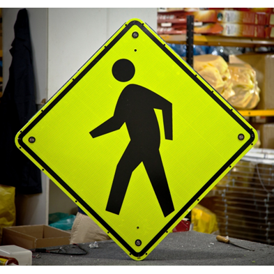 Pedestrian Crossing - Solar Flashing LED Pedestrian Crossing Sign - U.S. Signs and Safety - 1