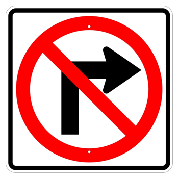 No Right Turn Symbol Sign - U.S. Signs and Safety
