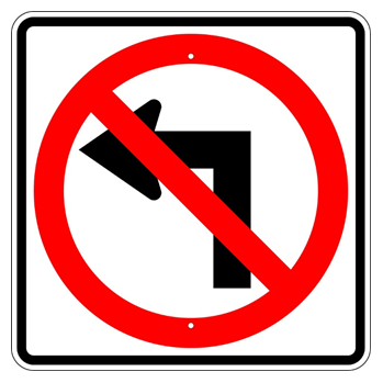 No Left Turn Symbol Sign - U.S. Signs and Safety