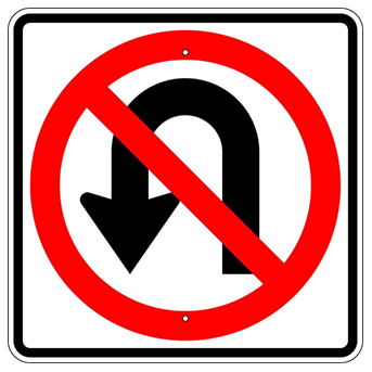 No U Turn Symbol Sign - U.S. Signs and Safety