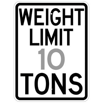 Weight Limit ** Tons Sign - U.S. Signs and Safety