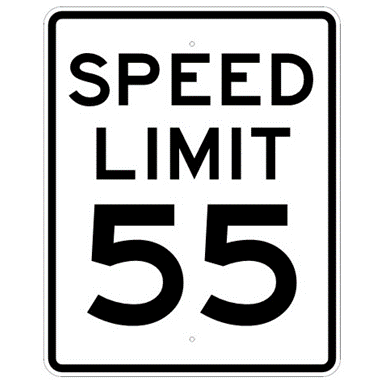 Speed Limit 55 mph sign, MUTCD R2-155, Reflective sheeting on heavy duty aluminum - U.S. Signs and Safety
