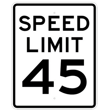 Speed Limit 45 mph sign, MUTCD R2-145, Reflective sheeting on heavy duty aluminum - U.S. Signs and Safety
