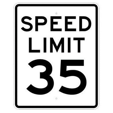 Speed Limit 35 mph sign, MUTCD R2-135, Reflective sheeting on heavy duty aluminum - U.S. Signs and Safety