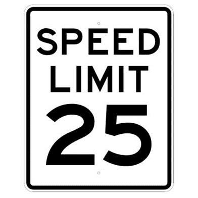 Speed Limit 25 mph sign, MUTCD R2-125, Reflective sheeting on heavy duty aluminum - U.S. Signs and Safety