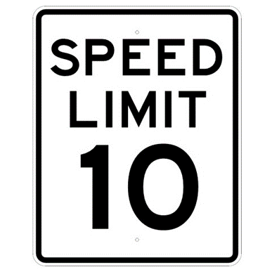Speed Limit 10 mph sign, MUTCD R2-110, Reflective sheeting on heavy duty aluminum - U.S. Signs and Safety