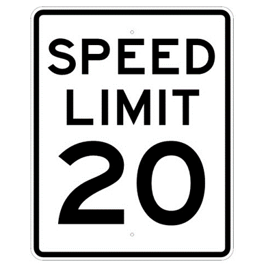 Speed Limit 20 mph sign, MUTCD R2-120, Reflective sheeting on heavy duty aluminum - U.S. Signs and Safety
