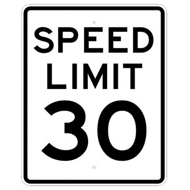 Speed Limit 30 mph sign, MUTCD R2-130, Reflective sheeting on heavy duty aluminum - U.S. Signs and Safety