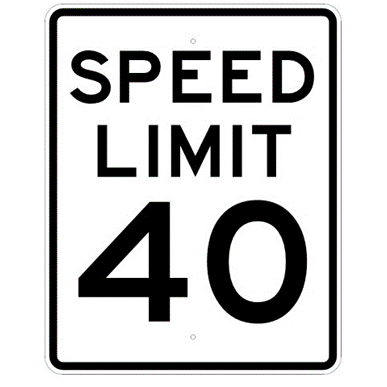 Speed Limit 40 mph sign, MUTCD R2-140, Reflective sheeting on heavy duty aluminum - U.S. Signs and Safety
